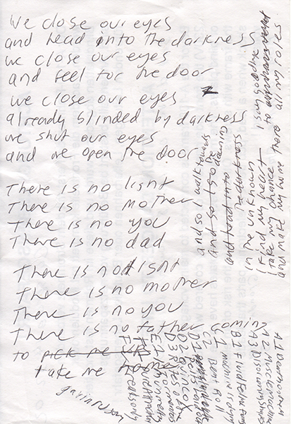 lyric sheet